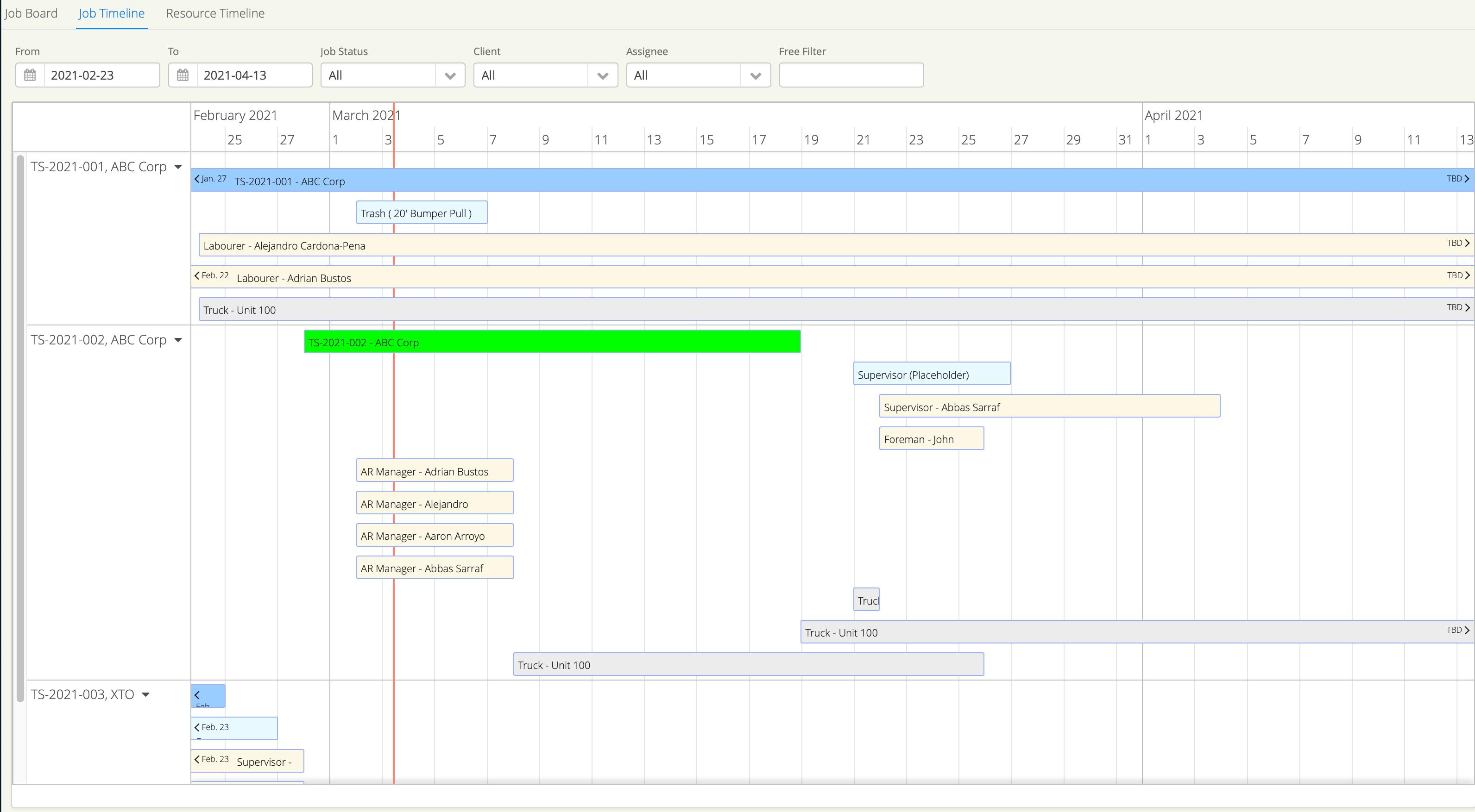 Job Timeline Dispatching Aimsio